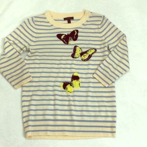 J. Crew Striped Butterfly Sweater Size Small
